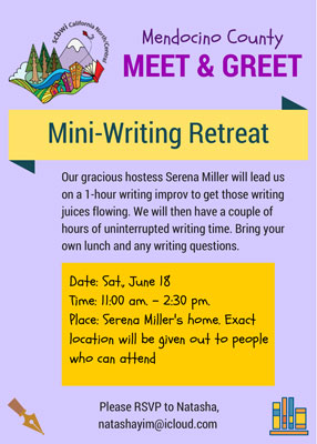 Our gracious hostess Serena Miller will lead uson a 1-hour writing improv to get those writing juices flowing. We will then have a couple of hours of uninterrupted writing time. Bring your own lunch and any writing questions.