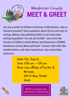 Join us for the Society of Children's Book Writers and Illustrators (SCBWI) Mendocino County Meet and Greet! Connect with other likeminded writers, and share experiences, tips and writing resources.